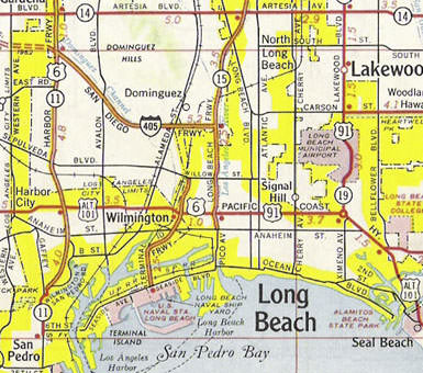 Steve Recalls A Sign At Pacific Coast Highway And The Long Beach Freeway Marking End Us 6 This 1961 Map Was Probably Made When That Case